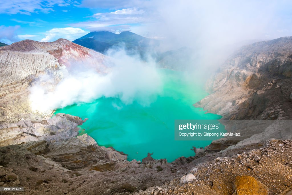 The turquoise lake inside the Kawah Ijen crater, Indonesia. : Stock Photo