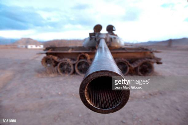 The turret of an old Soviet tank is seen November 23 2003 in Bamiyan Afghanistan The harsh environment of the Bamiyan province remains one of the...
