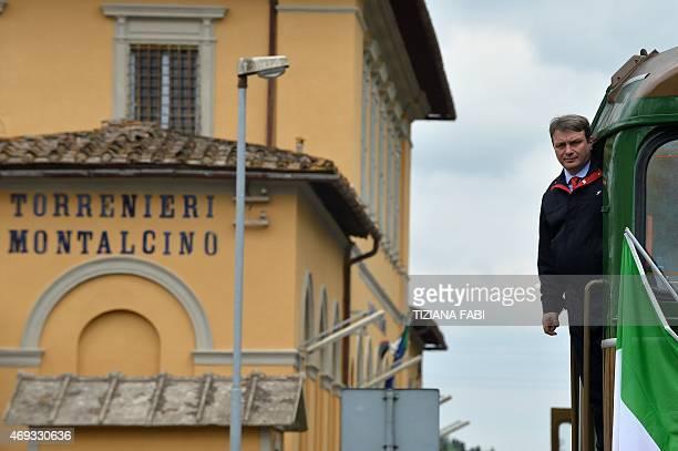 The Tuscany's Nature train arrives at the Torrenieri Montalcino station on April 11 2015 near Montalcino Italian Culture Minister Dario Franceschini...