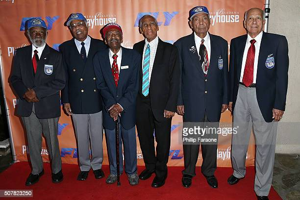 The Tuskegee Airmen attend opening night of Fly at Pasadena Playhouse on January 31 2016 in Pasadena California
