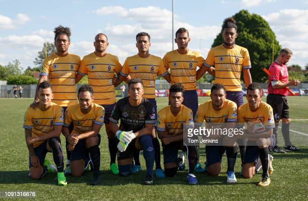 The Tuvalu players pose for a team photo before theor match with Padania in the Conifa World Football Cup 2018 at Coles Park Haringey on June 2nd...