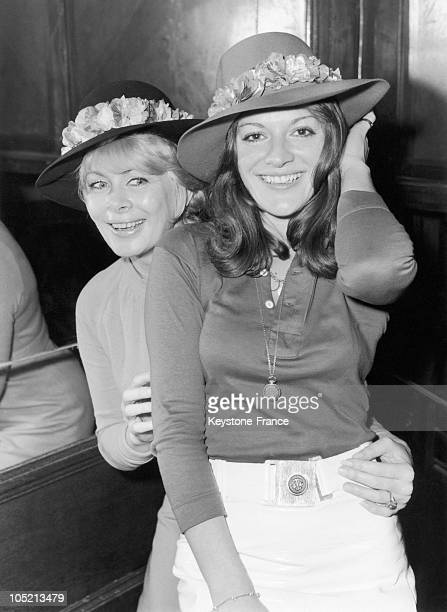 The Tv Announcers Jacqueline Huet And AnneMarie Peysson Present Felt Hats Decorated With Flowers In January 1970