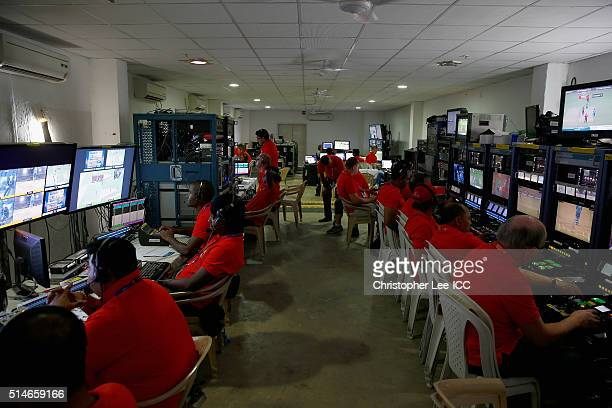 The TV Broadcast room in action during the ICC Twenty20 World Cup Round 1 Group B match between Hong Kong and Afghanistan at the Vidarbha Cricket...
