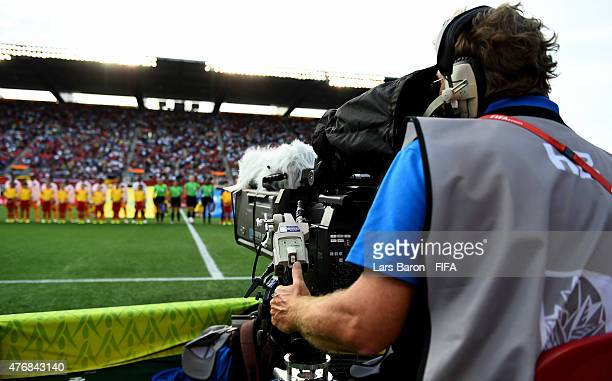 The TV crew at work during the FIFA Women's World Cup 2015 Group B match between Cote d'Ivoire and Thailand at Lansdowne Stadium on June 11 2015 in...