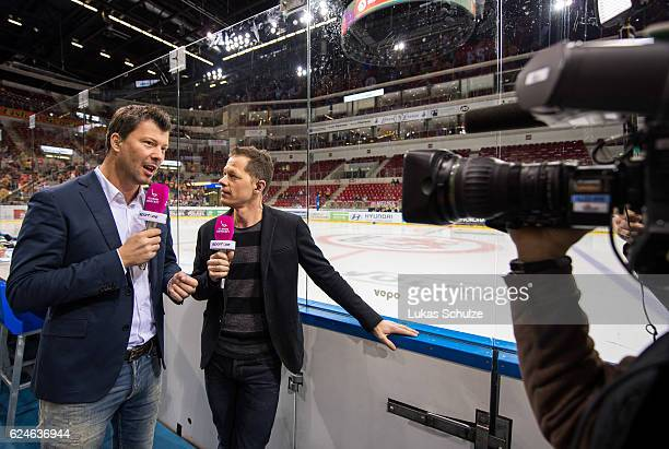 The TV crew of Sport1 is working prior to the DEL match between Duesseldorfer EG and Koelner Haie at ISS Dome on November 20 2016 in Duesseldorf...