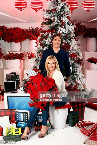 The Tv host Federica Panicucci with her husband and deejay Mario Fargetta during a photo shooting at the Christmas Village in Ripa di Porta Ticinese...