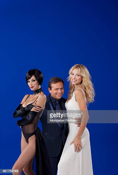 The TV host Piero Chiambretti and the showgirl Nora Mogalle also as her alter ego Lola Mogalle during a photo shooting in a Mediaset TV studio Nora...