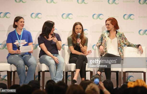The TV Junkies EditorinChief Bridget Liszewski television producer Emily Andras actresses Dominique ProvostChalkley and Katherine Barrell speak...