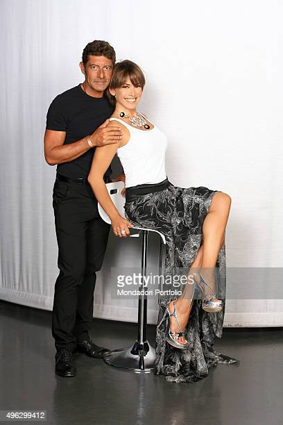 The TV presenter and actress Barbara d'Urso and the musician Luca Laurenti posing in a photocall for the TV show Fantasia launch Italy 2008