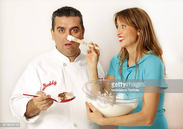 The TV presenter and journalist Benedetta Parodi posing for a photo shooting at Real Time studios with the chef and confectioner Buddy Valastro Milan...