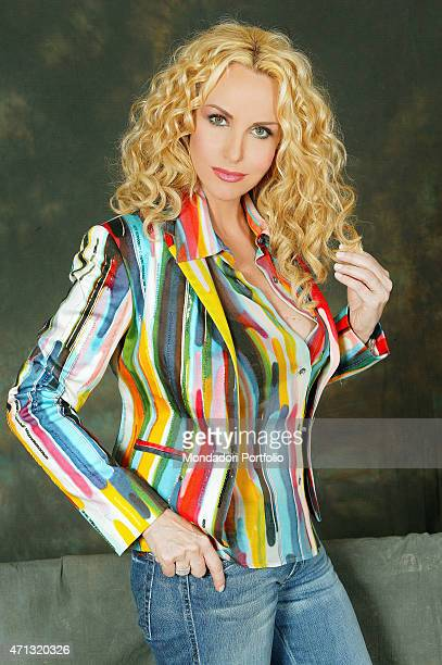 The TV presenter Antonella Clerici in a photo shooting for the TV show Ti lascio una canzone Sanremo Italy 25th March 2008