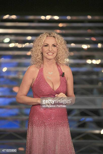 The TV presenter Antonella Clerici presenting the TV show Il treno dei desideri Rome Italy 9th October 2006