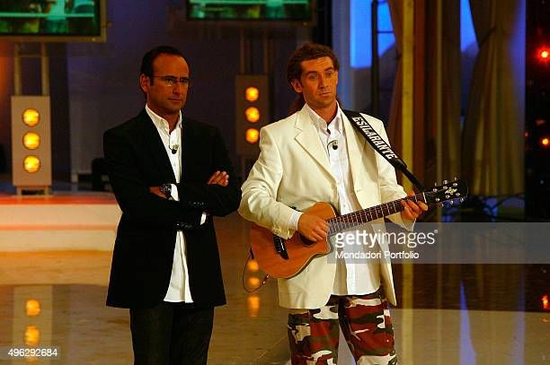The TV presenter Carlo Conti and the standup comedian Andrea Agresti in a photocall on the set of the talent show I raccomandati Italy 21st October...