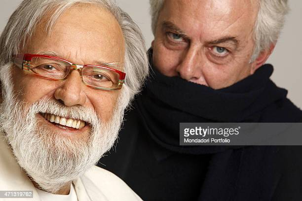 The TV presenter Gianfranco Funari and the author Diego Cugia who created the TV variety show Apocalypse Show posing for a photo shooting Rome Italy...