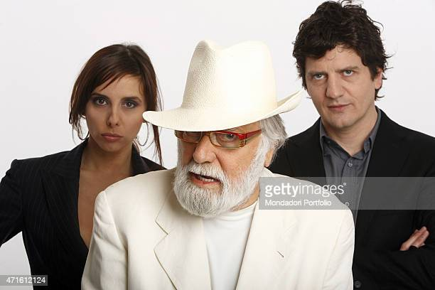 The TV presenter Gianfranco Funari the comedian Fabio De Luigi and the showgirl Esther Ortega presenting the TV variety show Apocalypse Show posing...