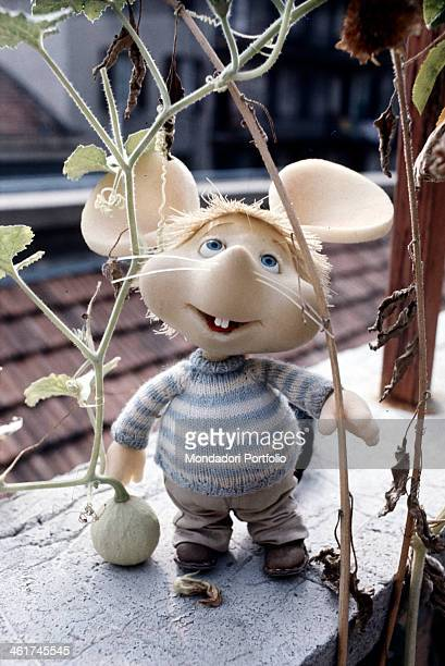 The TV Puppet Topo Gigio standing on a window ledge Italy 1973