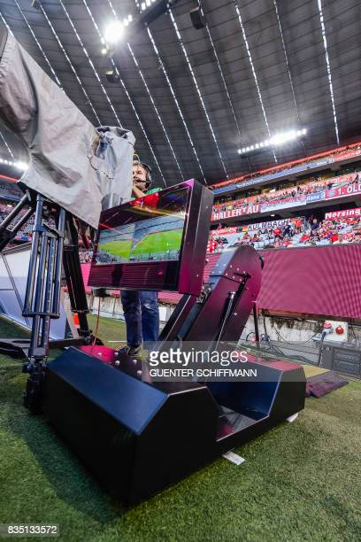 The TV screen for the referee to review a controversial situation is pictured as the Video assistant referee goes in to use this season prior to the...