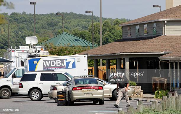 The TV truck that journalists Alison Parker and Adam Ward drove before they were killed this morning during a live broadcast sits in a parking lot...