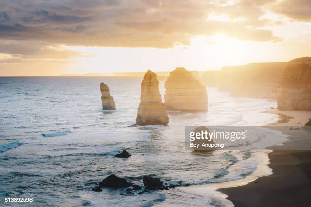 The Twelve Apostle in the great ocean road during the sunset, an iconic rock formation of Victoria state of Australia.