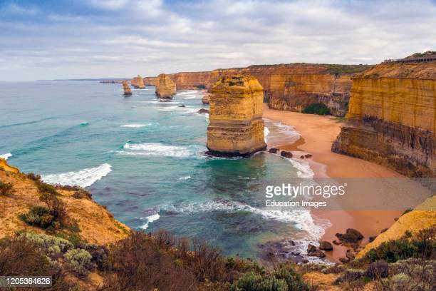 The Twelve Apostles near Port Campbell in the Port Campbell National Park Great Ocean Road Victoria Australia The Apostles are limestone stacks...