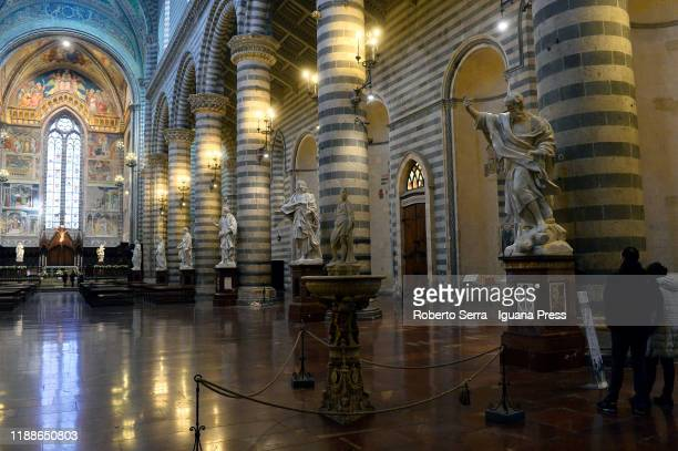 The twelve Apostles rinascimentale statues recollocation at Duomo of Orvieto ceremony on November 19, 2019 in Orvieto, Italy.
