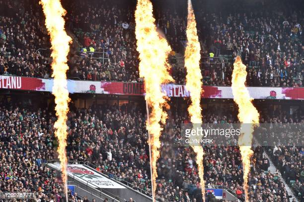 The Twickenham crowd enjoy the prematch entertainment before the Six Nations international rugby union match between England and Ireland at the...