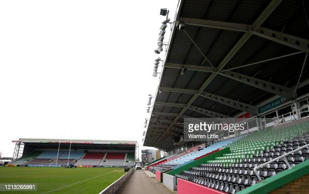 The Twickenham Stoop is closed till further notice as the spread of COVID-19 forces sporting events to be cancelled globally, pictured on March 18,...