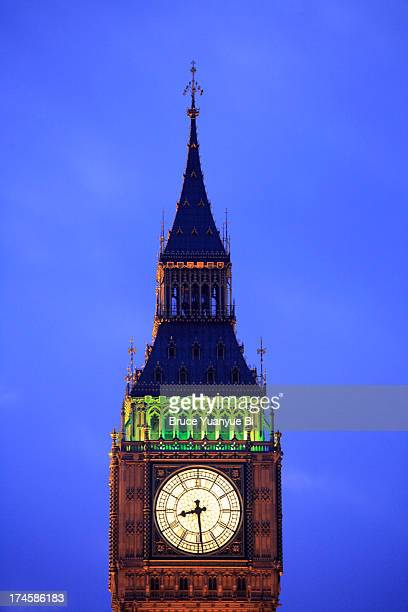 the twilight view of big ben - clock tower stock pictures, royalty-free photos & images