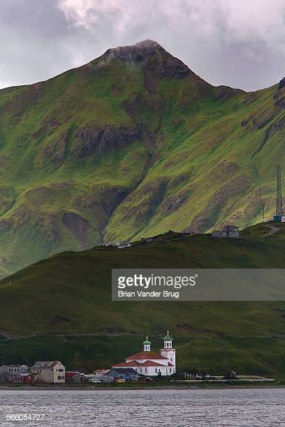 The twin domes of the Russian Orthodox Church in an evening view in Dutch Harbor Dutch Harbor is at the confluence of the Pacific Ocean and the...