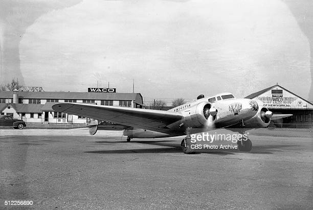 The twin engine Lockheed Electra named Amicitia that Col George R Hutchinson Family The Flying Hutchinsons will fly at Roosevelt Field Long Island NY...