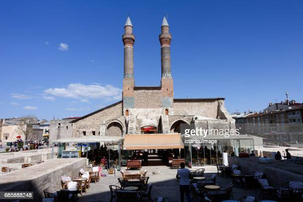 the twin minarets of cifte minare medrese, sivas - sivas stock pictures, royalty-free photos & images