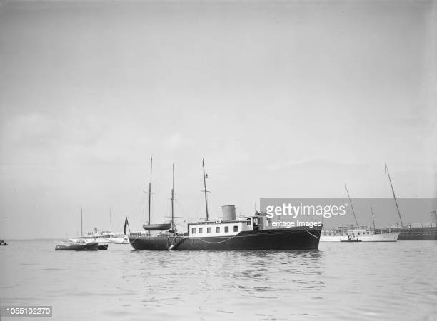 The twin screw 80ft motor yacht 'Bystander' at anchor 1934 Initially owned by William Lawrence Stephenson a founder of Woolworths Artist Kirk Sons of...