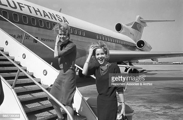 The twin sisters and famous German variety showgirls Alice and Ellen Kessler leaving for Munich from Fiumicino airport They knew the celebrity during...