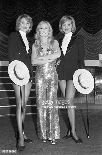 The twin sisters and famous German variety showgirls Alice and Ellen Kessler together with French actress Sylvie Vartan featuring in a TV show They...