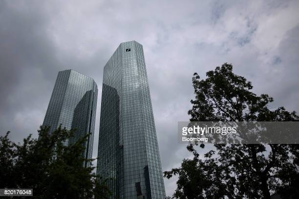 The twin tower skyscraper headquarter offices of Deutsche Bank AG stand in Frankfurt Germany on Thursday July 20 2017 Frankfurt has emerged as a...