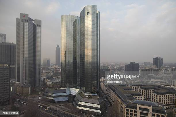 The twin tower skyscraper headquarter offices of Deutsche Bank AG right stand in Frankfurt Germany on Thursday Jan 21 2016 Deutsche Bank Germany's...