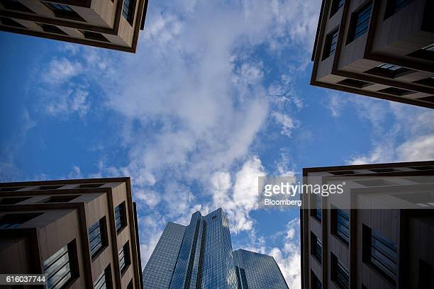 The twin tower skyscraper headquarter offices of Deutsche Bank AG centre stand in Frankfurt Germany on Thursday Oct 20 2016 Unlike Deutsche Bank...