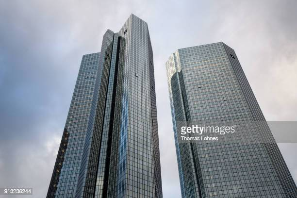 The twin towers of the corporate headquarters of German bank Deutsche Bank stand on February 1, 2018 in Frankfurt, Germany. Deutsche Bank will...