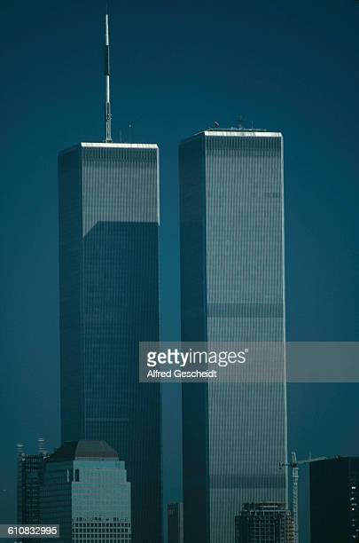The twin towers of the World Trade Center in Lower Manhattan New York City 1986