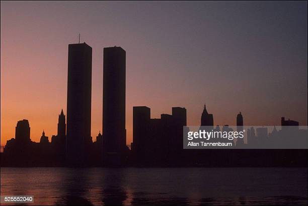 The twin towers of the World Trade Center on the first morning of the power blackout of July 1977 New York New York July 1977