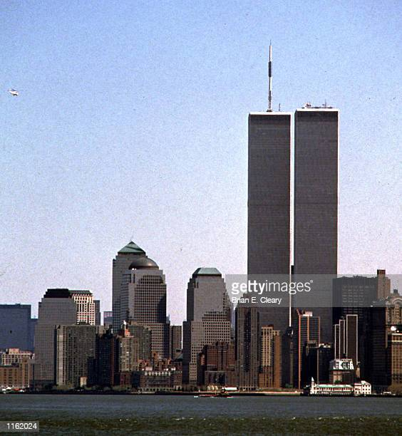 The twin towers of the World Trade Center stand on display on the New York City skyline in July 1995 Two hijacked planes crashed into the World Trade...