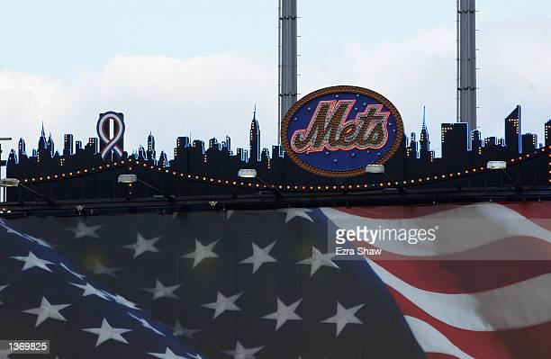 The Twin Towers on the New York Mets' skyline scoreboard will now be black and covered by a red white and blue ribbon at Shea Stadium in Flushing New...