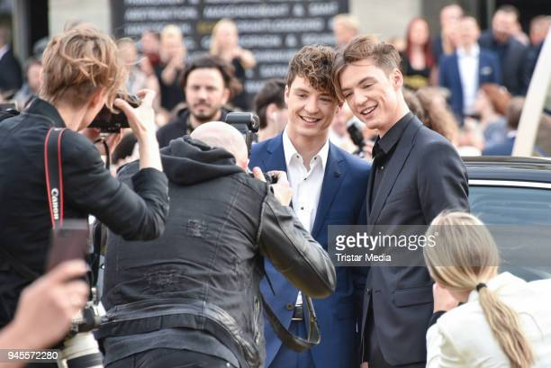 The twins Heiko Lochmann and Roman Lochmann alias Die Lochis arrive at the Echo Award 2018 at Messe Berlin on April 12 2018 in Berlin Germany
