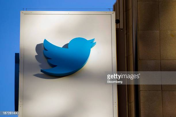The Twitter Inc logo is displayed on the facade of the company's headquarters in San Francisco California US on Thursday Nov 7 2013 Twitter Inc...