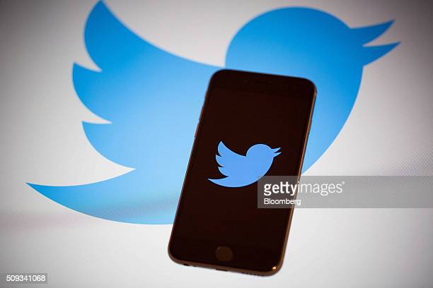 The Twitter Inc logo is displayed on the screen of an Apple Inc iPhone 6s in this arranged photograph taken in New York US on Tuesday Feb 9 2016...