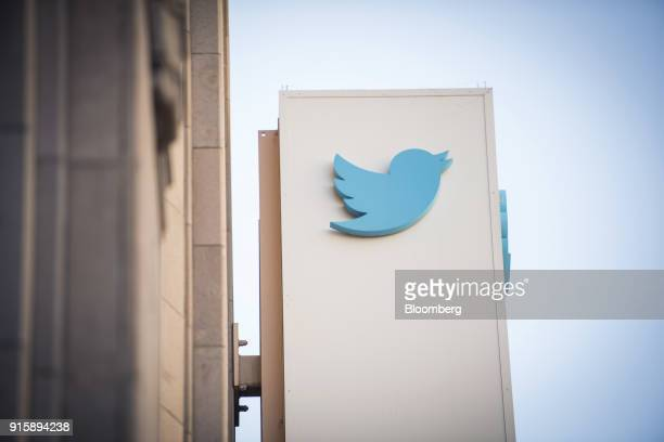 The Twitter Inc logo is displayed outside the company's headquarters in San Francisco California US on Thursday Feb 8 2018 Twitter Inc soared the...