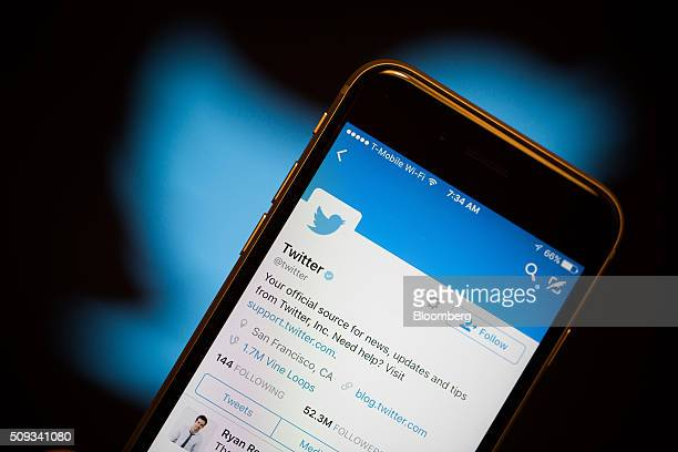 The Twitter Inc mobile application is displayed on an Apple Inc iPhone 6s in this arranged photograph taken in New York US on Tuesday Feb 9 2016...