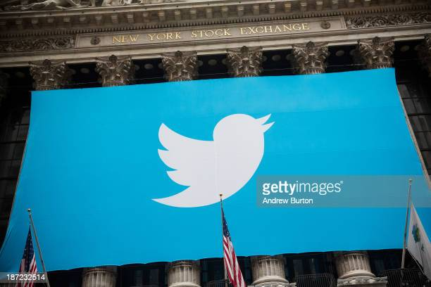 The Twitter logo is displayed on a banner outside the New York Stock Exchange on November 7, 2013 in New York City. Twitter goes public on the NYSE...