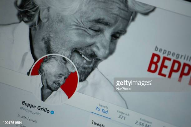 The twitter profile of Beppe Grillo is seen on a screen