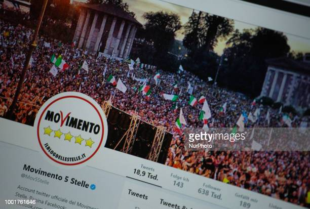 The twitter profile of Movimento 5 Stelle is seen on a screen